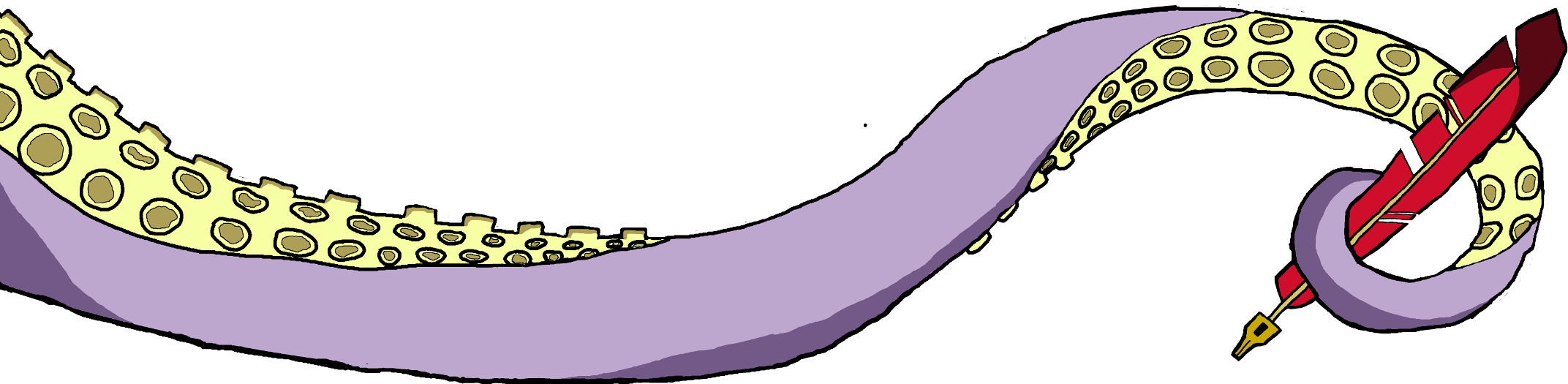 Tetra's tentacle holding a quill.