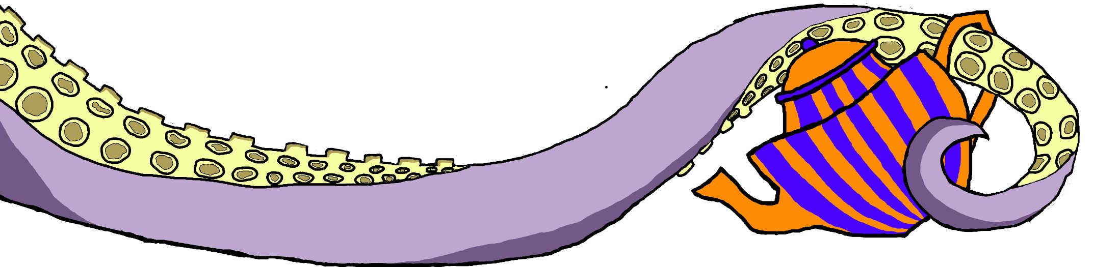 Tetra's tentacle holding a teapot.