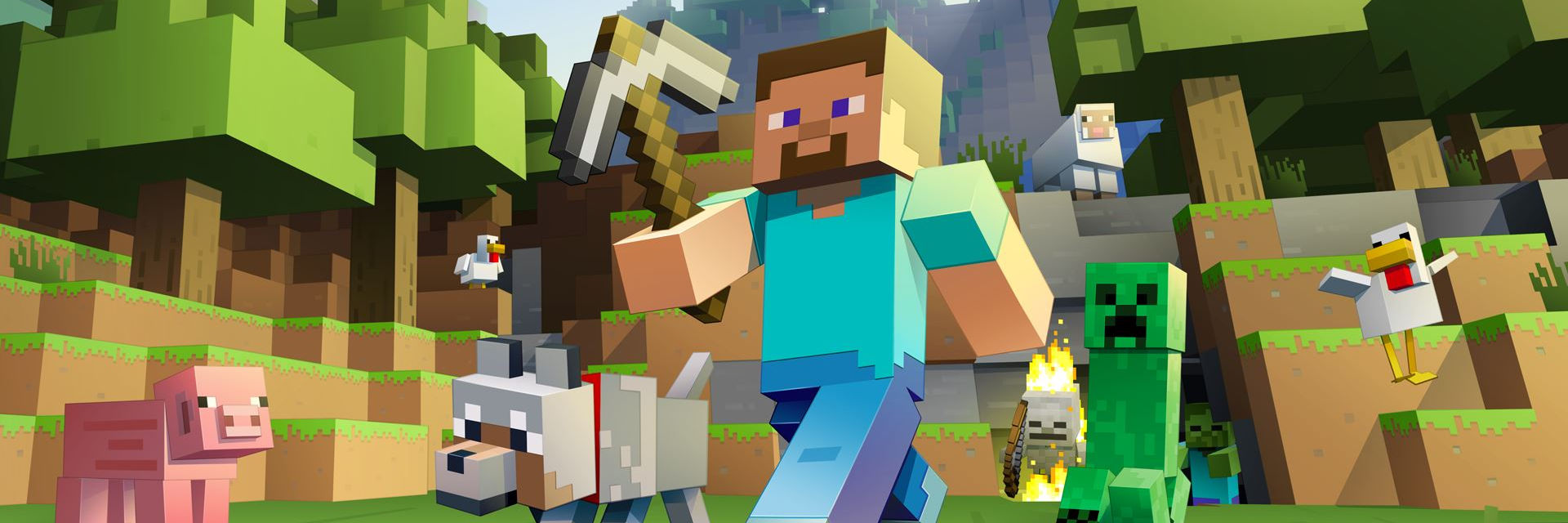 Minecraft Image, character with pickaxe surrounded by happy animals.