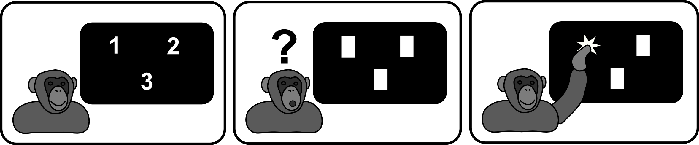 Chimp playing computer game.