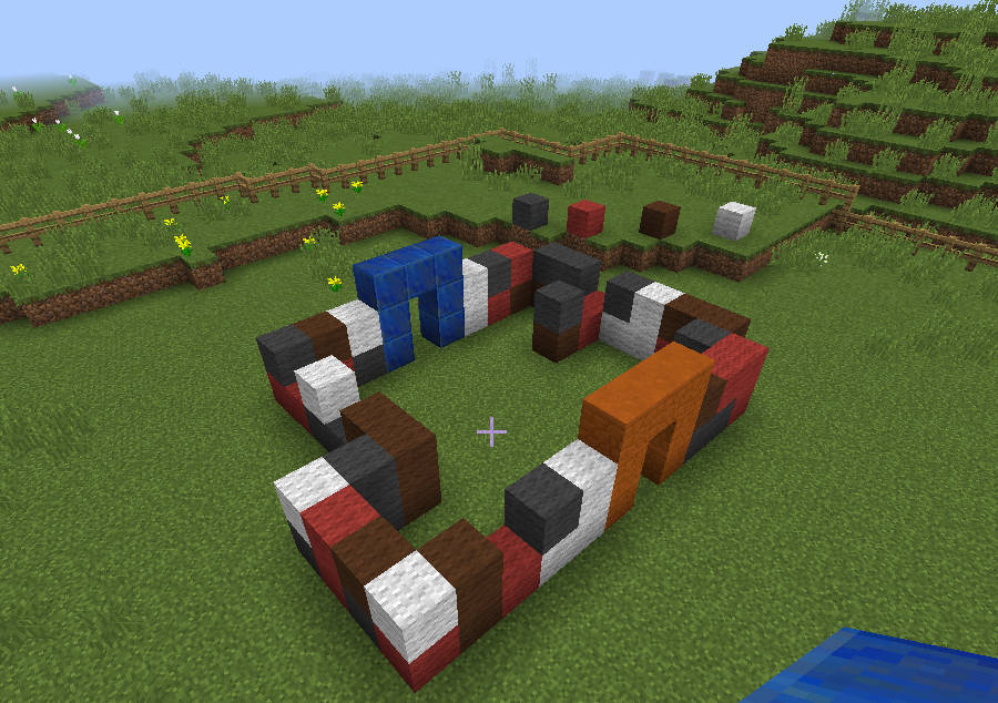 Circular minecraft structure, blocks with arches.