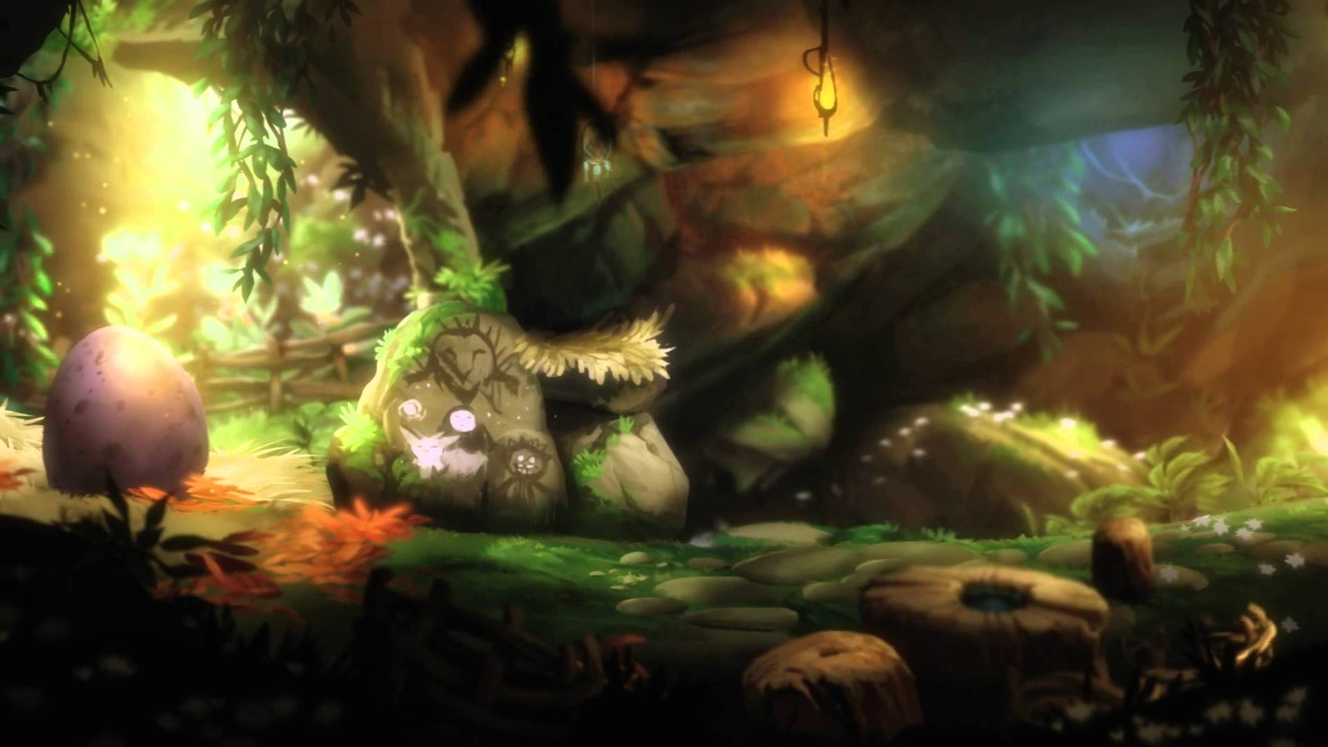 A painting inside Naru's cave, depicting Kuro, Ori, herself and Gumon.