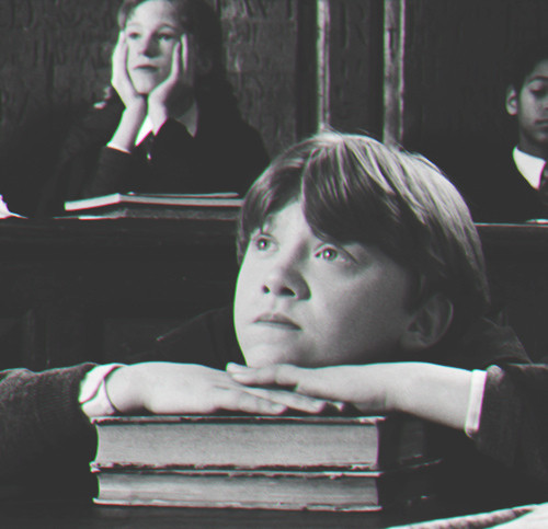 Ron, daydreaming in class.