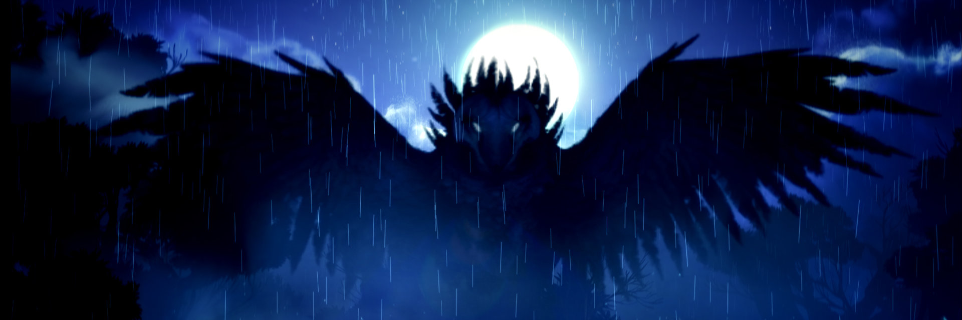 An image of Kuro the owl, vast and nightmarish, wings outstretched.