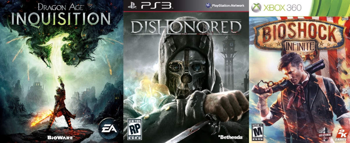 Game covers: Inquisition, Dishonored, Bioshock Infinite