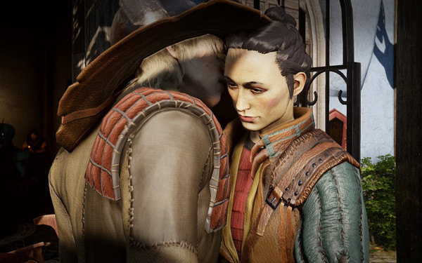 Picture of Cole whispering to Maryden the Bard