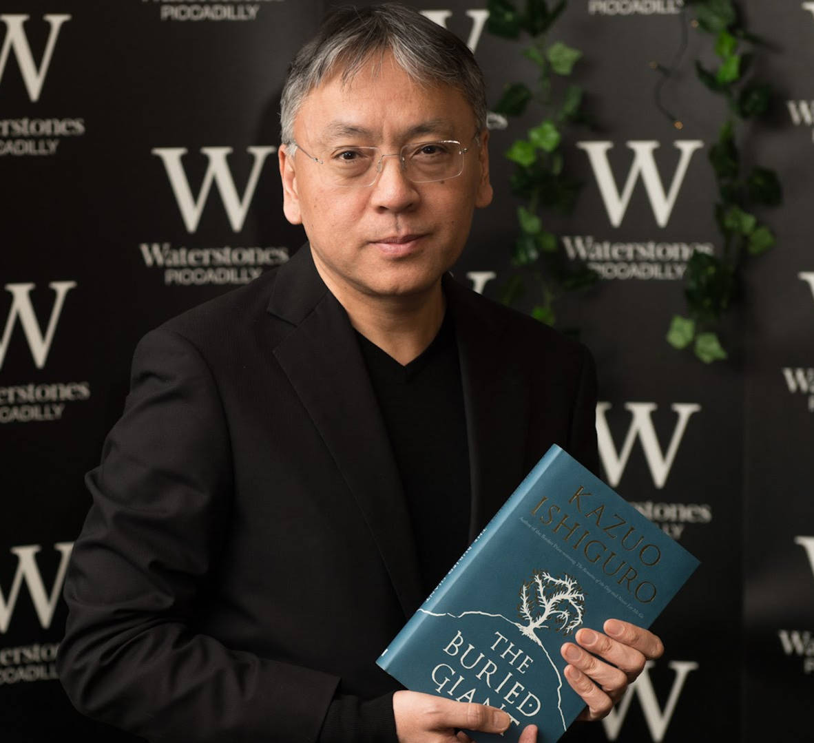 Kazuo Ishiguro, holding the Buried Giant