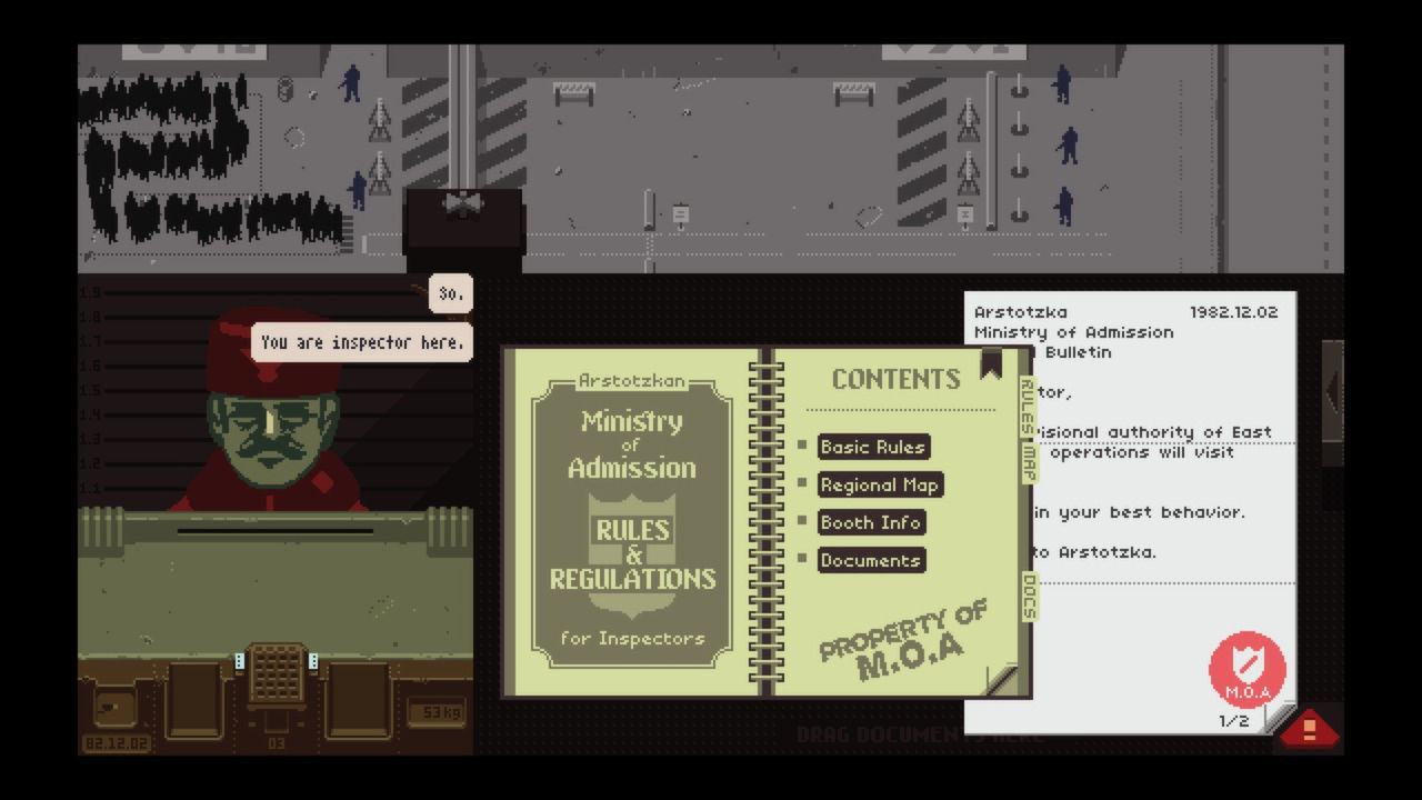 Screenshot from Papers Please.