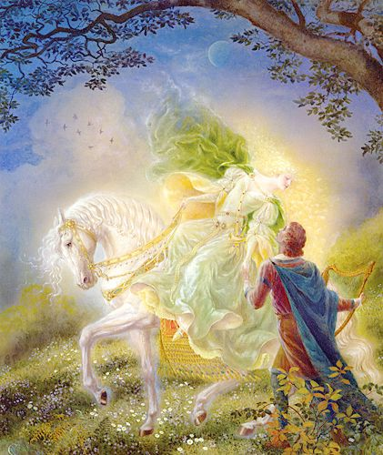 The Queen of Fairies approaches the young noble, Thomas the Rhymer.