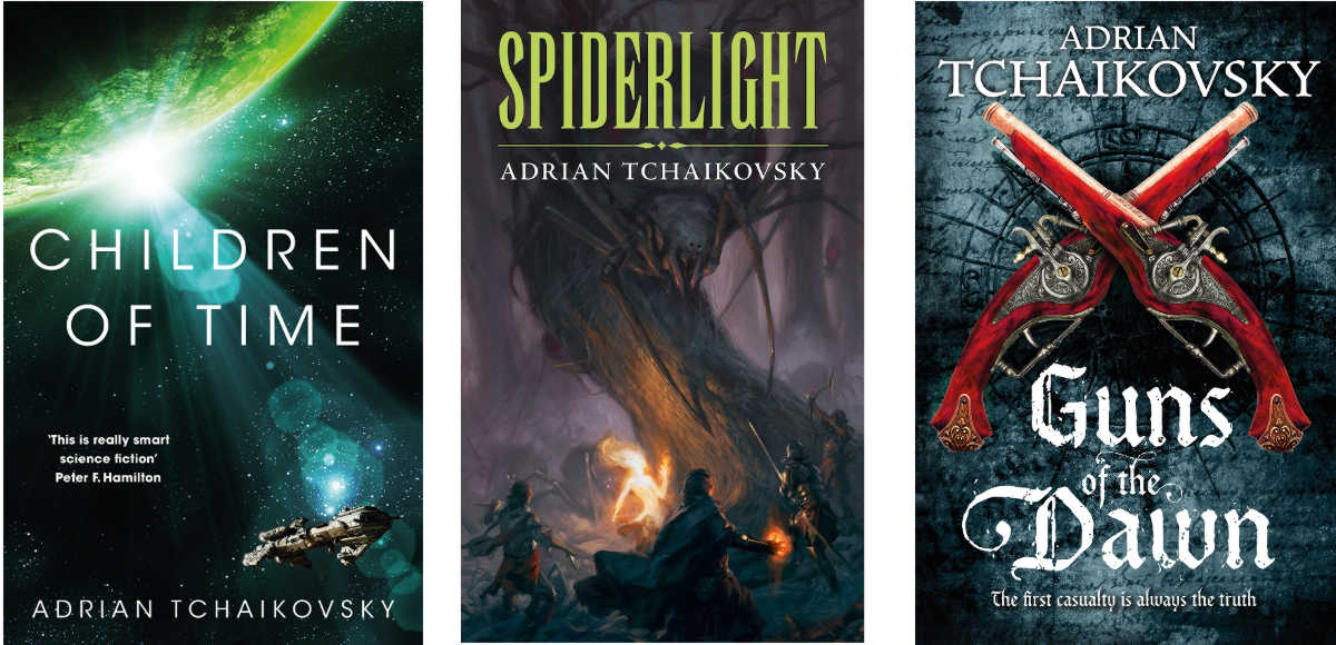 Book covers: Children of Time, Spiderlight, Guns of the Dawn