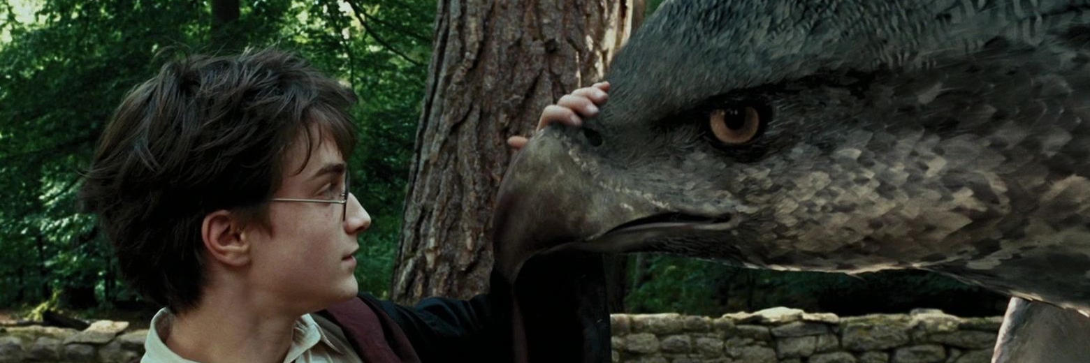 Harry stroking Buckbeak's beak.