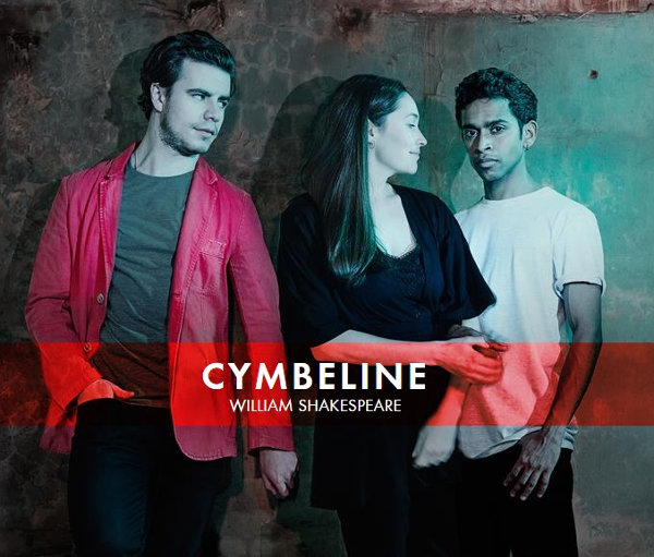 Cymbeline poster, featuring three of the cast.