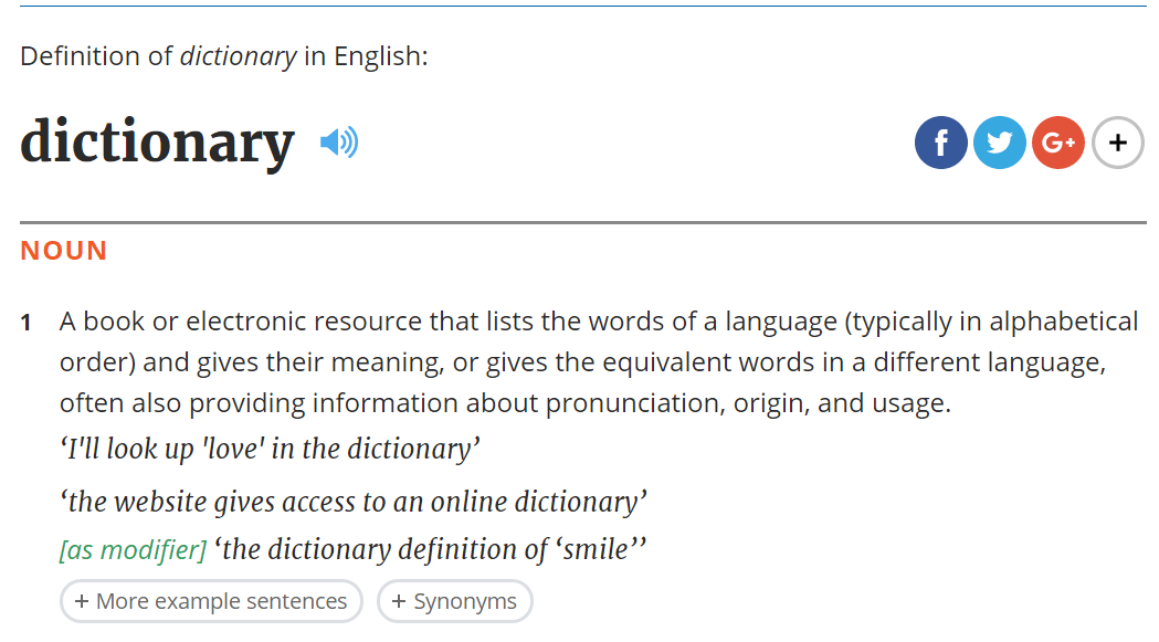 The dictionary entry for dictionary