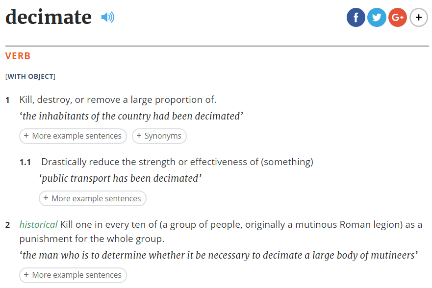 Oxford dictionaries entry for decimate