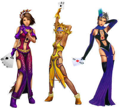 Yuna, Rikku and Paine from FFX-2 in their Lady Luck outfits