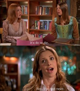Two stills from the Buffy episode Once More with Feeling, as she sings about having died twice.