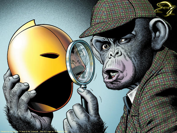 Detective Chimp, complete with trilby and magnifying glass