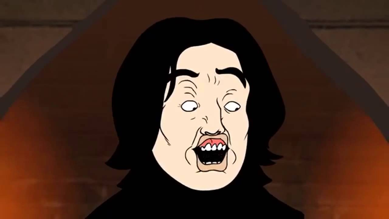 Cartoon image of Snape mouthing Leviosa