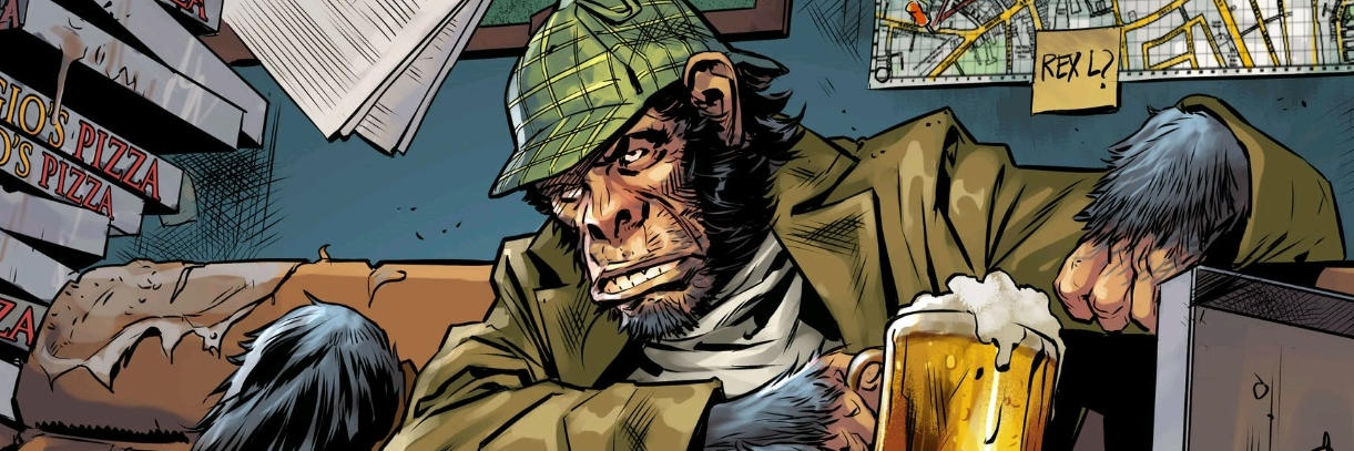 Detective Chimp, wearing a trilby and drinking beer.