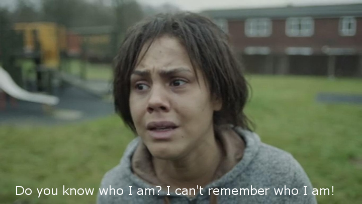 The central character in the White Bear episode of Black Mirror, with the caption 'Do you know who I am? I can