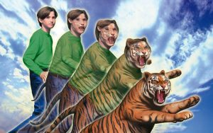 An Animorphs cover image, with Jake morphing into a tiger.