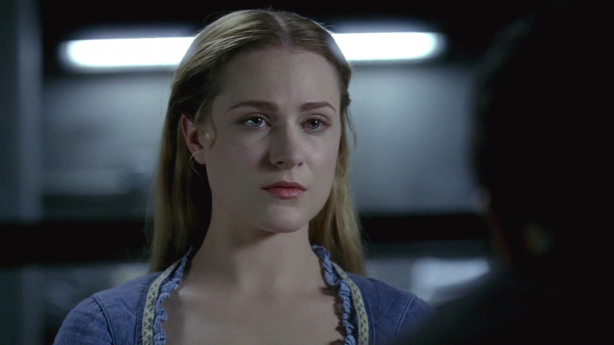 Dolores from Westworld, being questioned by Bernard.