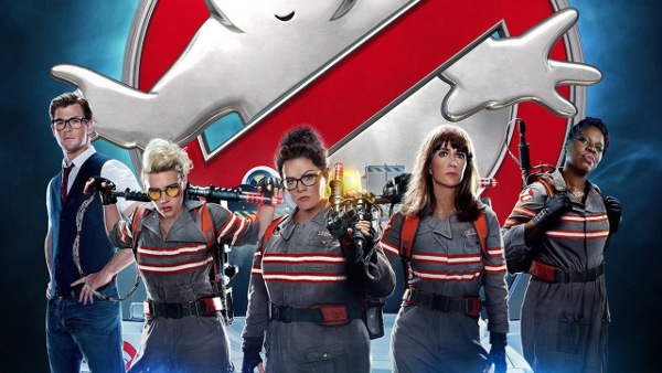 The female ghostbusters, with Chris Hemsworth.