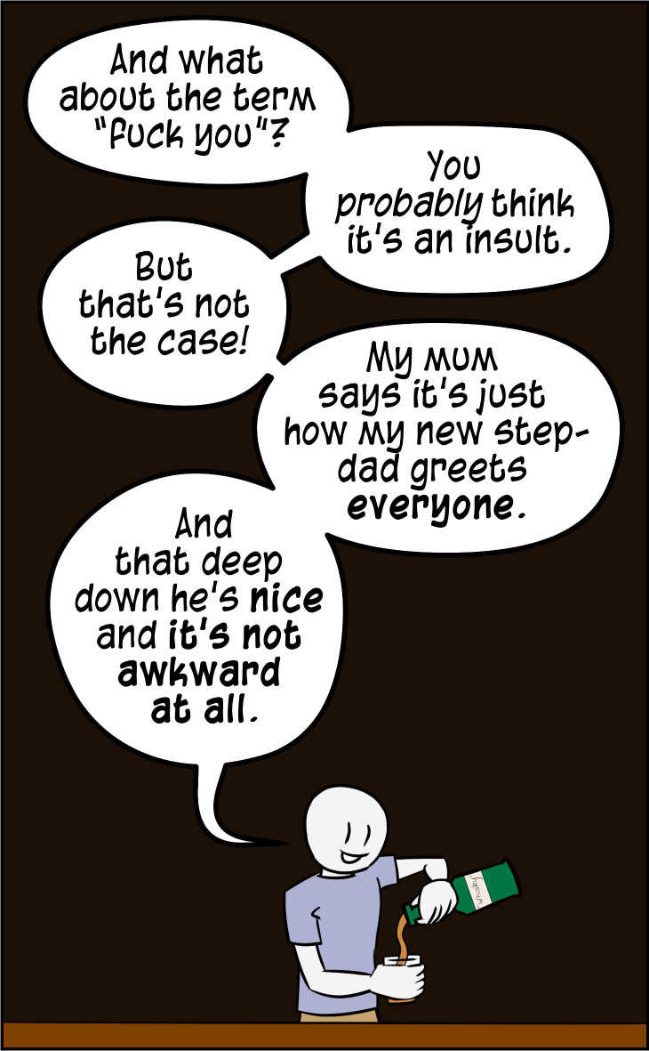 A comic observing a particular deployment of the term 'nice'.