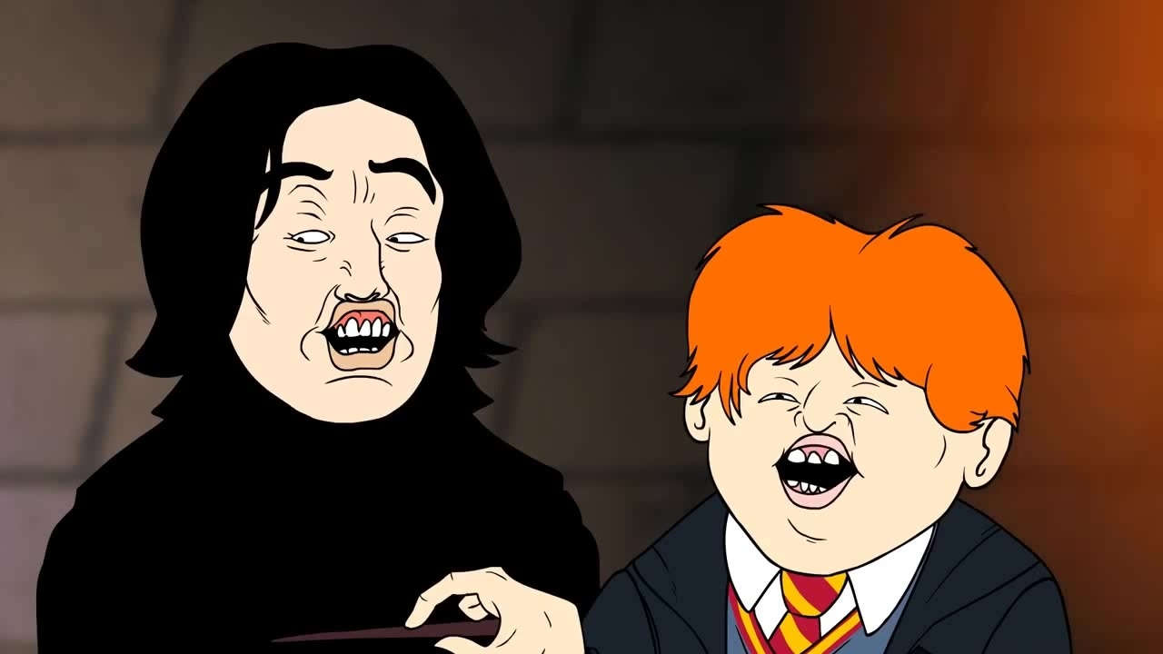 Snape and Ron pronouncing the spell 'Wingardiam Leviosa'.