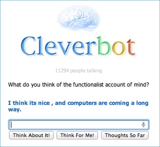 A Screenshot of short interaction with Cleverbot