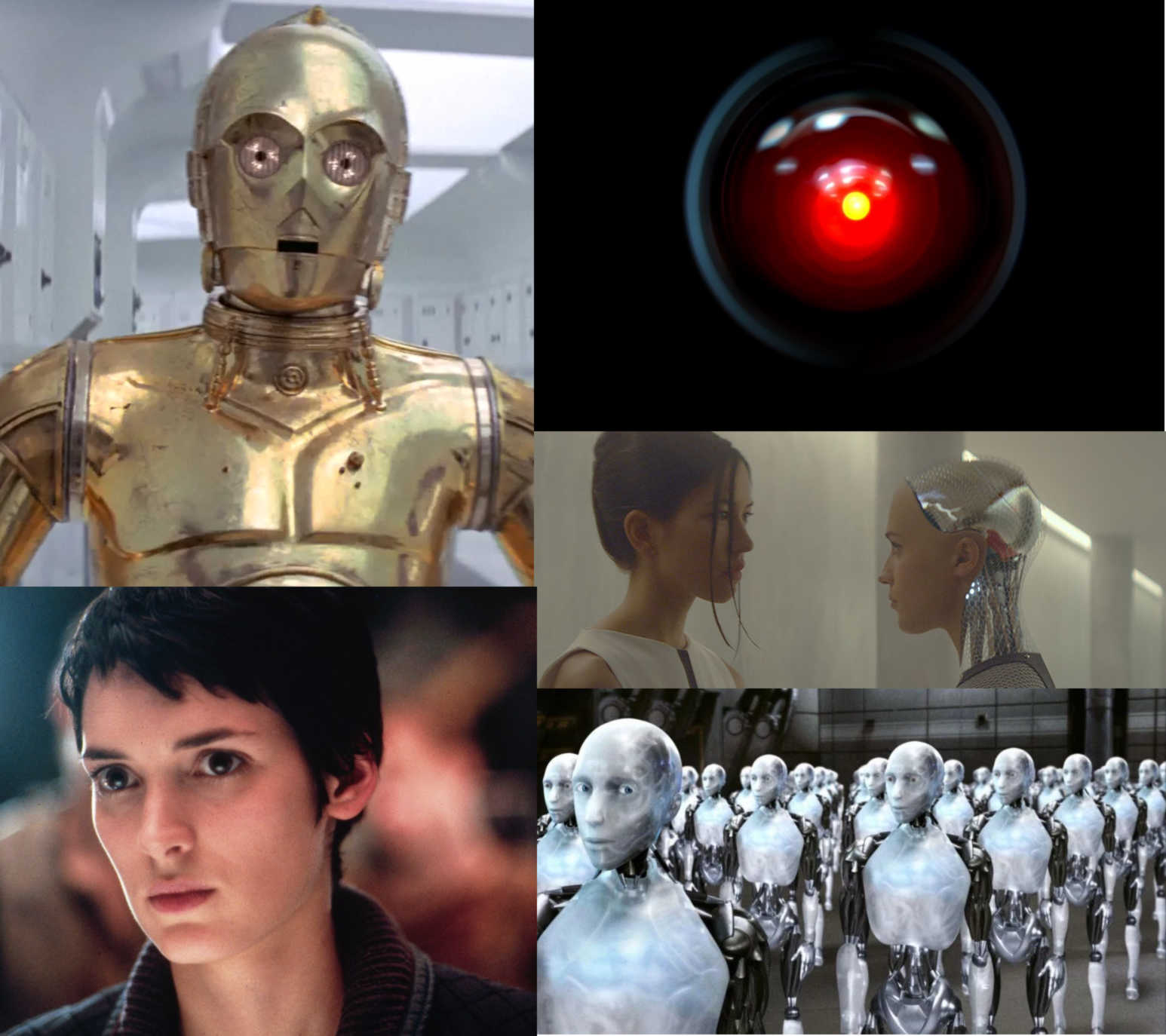 Collage of famous AI, including C3PO and HAL
