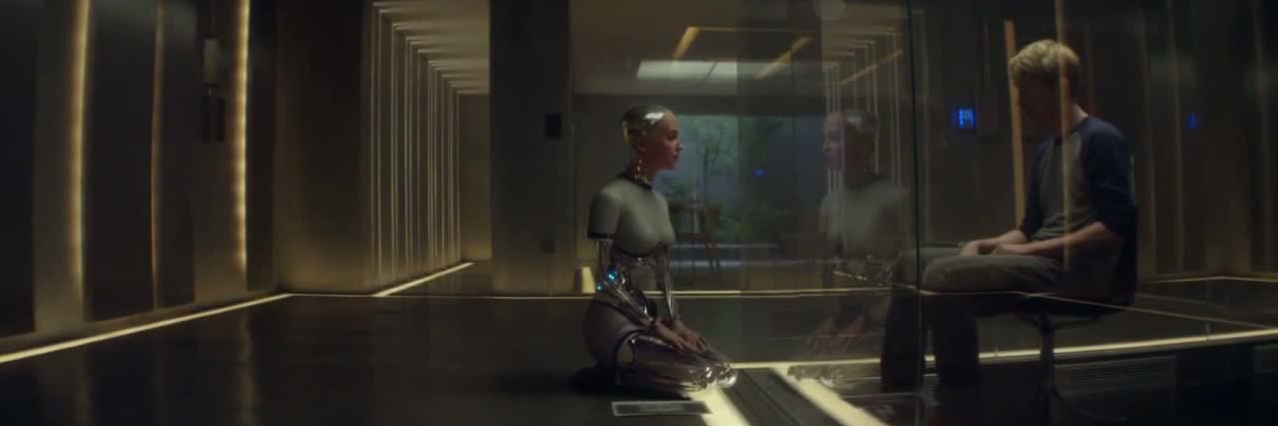 Turing Test from Ex Machina, featuring Ava and Caleb.