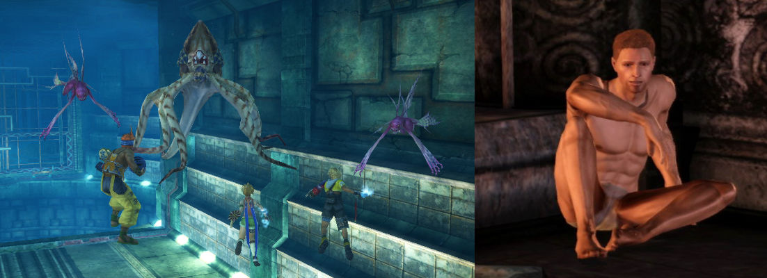 Image showing the underwater prison level from FFX and Alastair from DAO in prison, minus his clothes.