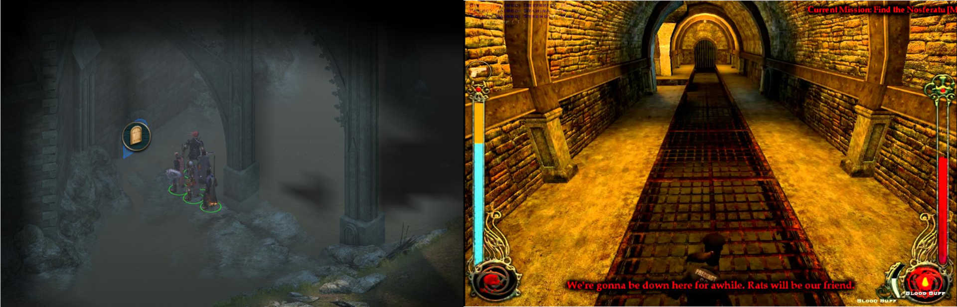 Image showing the entrance to a sewer level from Pillars of Eternity and the sewer level from Vampire: The Masquerade Bloodlines
