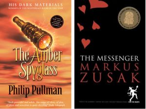 Book covers: The Amber Spyglass and The Messenger