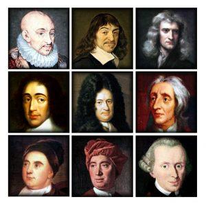 Collage of famous philosophers (Descartes, Kant etc.)