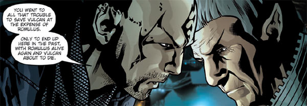Comic panel, Nero taunting Spock about how his time travel failed to save Vulcan.