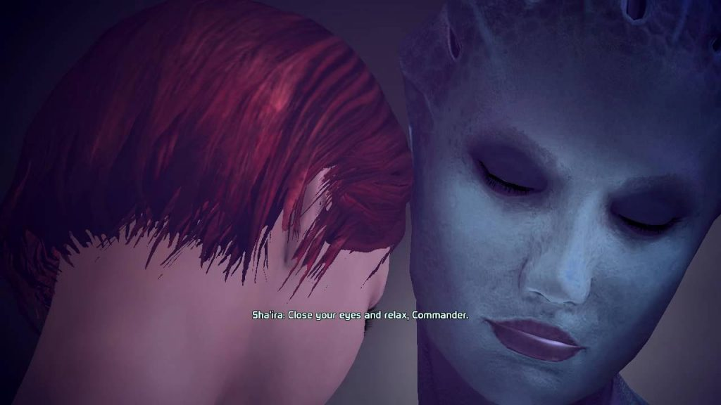 Sha'ira urging Shepard to relax.