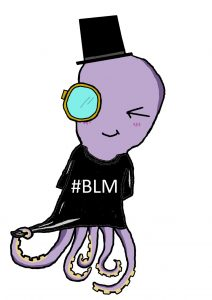 Tetra the Octopus wearing a t-shirt with the slogan #BLM