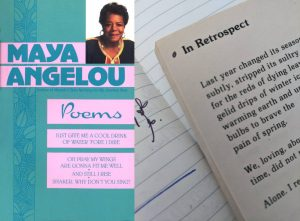 Cover of Maya Angelou's Poems and a photo of a page with a left dot in the top corner