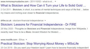 Headlines of dubious financial readings of stoicism.