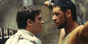 Phoenix and Crowe as emperor and slave in Gladiator.