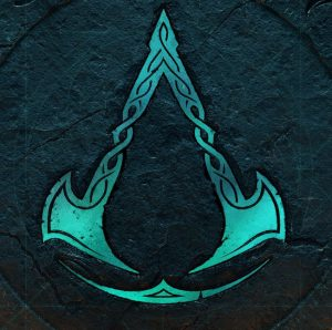 The symbol of Assassin's Creed: Valhalla, represented by two downward-facing axes.