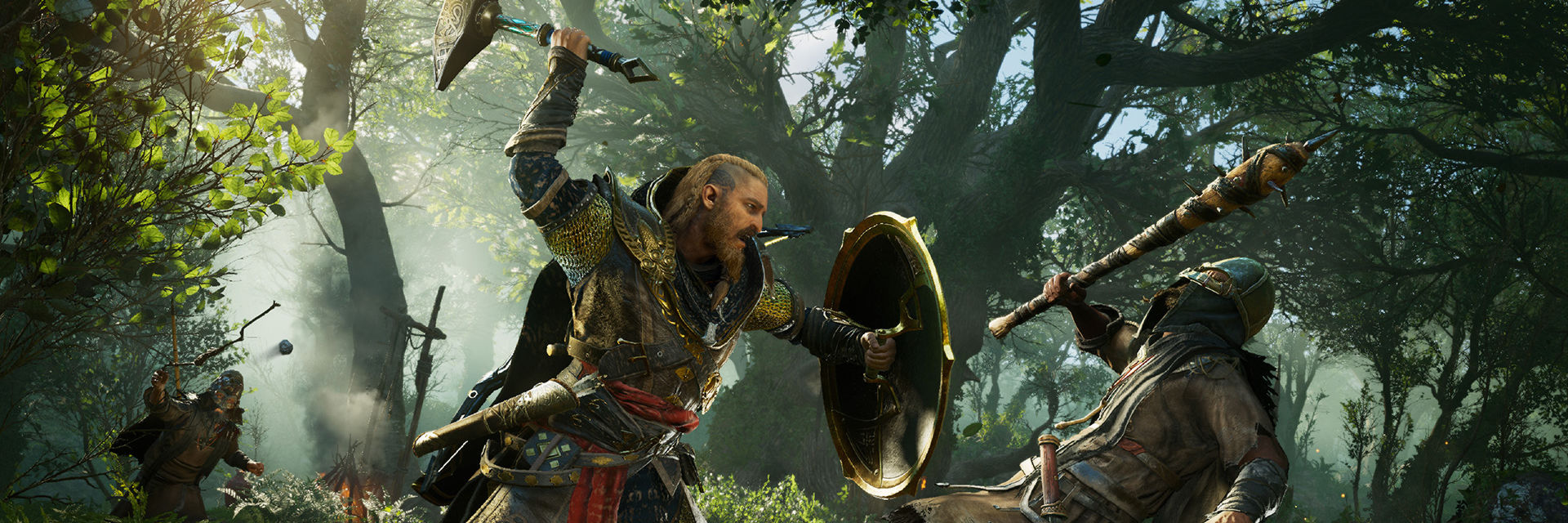 Eivor from Assassin's Creed Valhalla in battle with an early in-game boss.